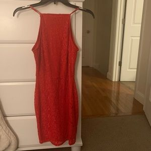 Red Misguided Lace Bodycon Dress